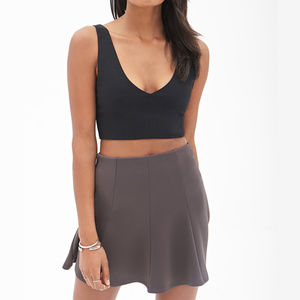 New With Tag Gray Seam-Stitched Skater Skirt